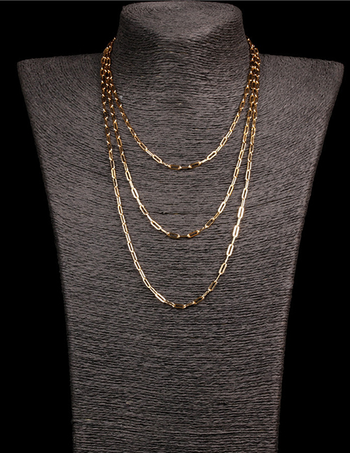 Fashion Gold 60cm Thick Chain Stainless Steel Hollow Necklace
