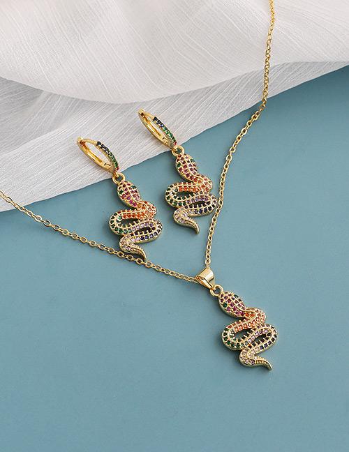 Fashion Color Copper Inlaid Zircon Serpentine Necklace