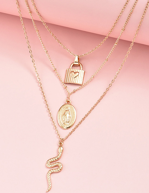 Fashion Gold Color Color Serpentine Love Virgin Portrait Multilayer Necklace