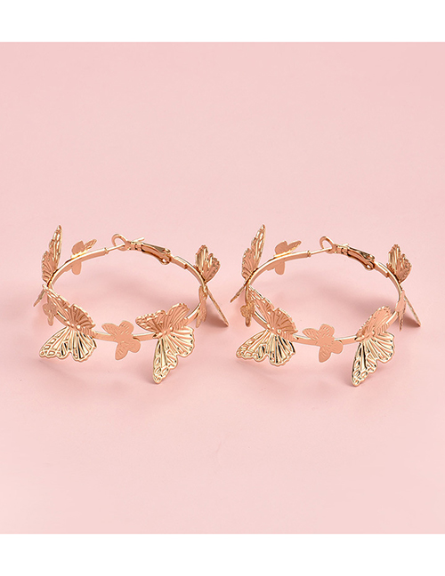 Fashion Gold Color Color Butterfly Round Alloy Earrings