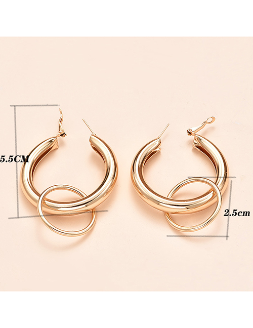 Fashion Gold Color Color Thick Round Alloy Earrings