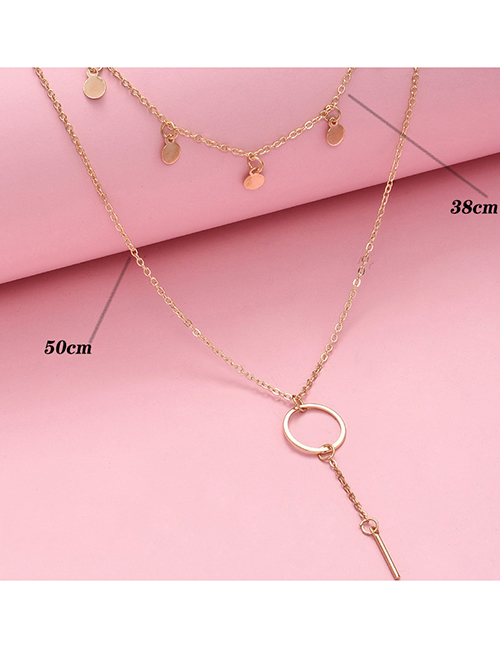Fashion Gold Color Color Disc Pendant Alloy Multilayer Necklace