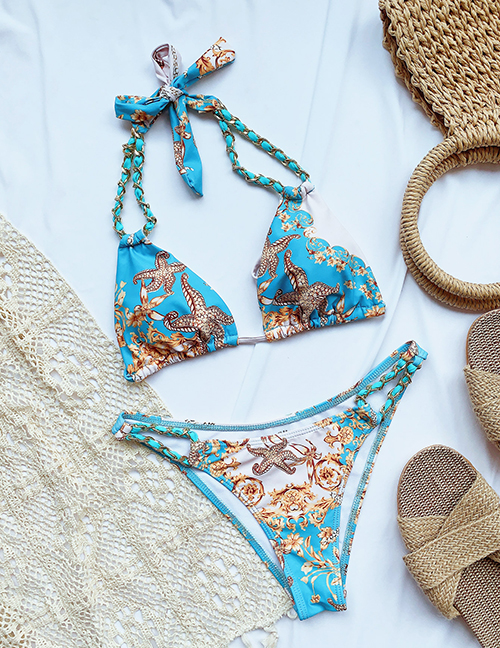Fashion Sky Blue Printed Chain Strap Split Swimsuit