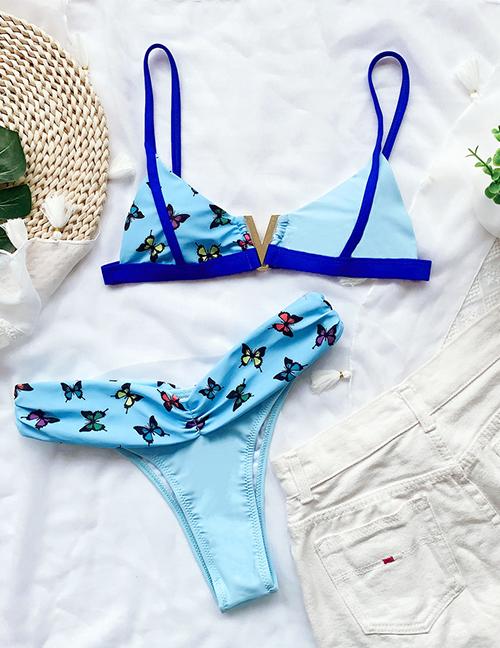 Fashion Blue Butterfly Print Color Block Split Swimsuit