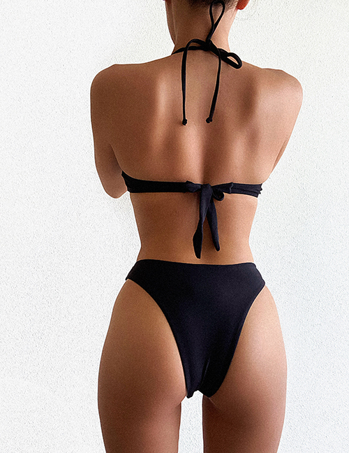 Fashion Black Solid Color Strappy Shell Split Swimsuit