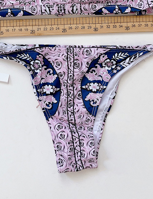 Fashion Color Split Printed Tether Swimsuit