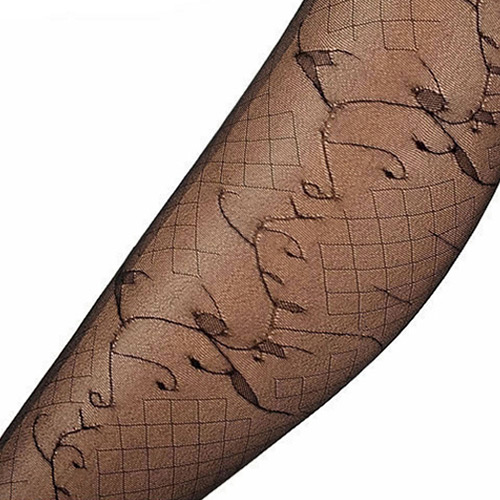 Lovely Black Timbo Pattern Decortaed Simple Silk Stockings