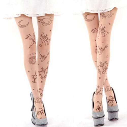 Personality Fleshcolor Constellation Pattern Decorated Simple Silk Stockings