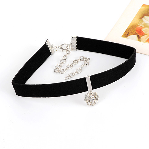 Trendy Black+silver Color Diamond& Flower Shape Decorated Double-layer Simple Design Choker