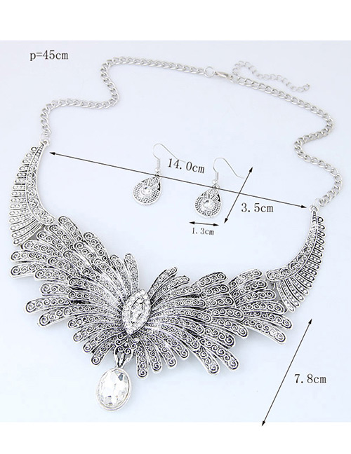 Fashion Silver Color Oval Shape Diamond Decorated Flower Shape Jewelry Sets