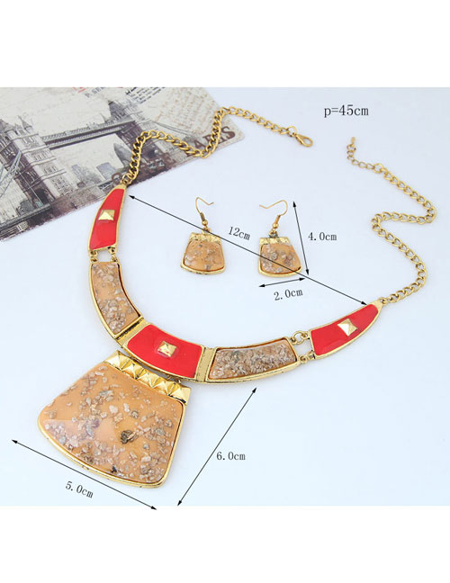 Trendy Multi-color Geometric Shape Decorated Color Matching Jewelry Sets