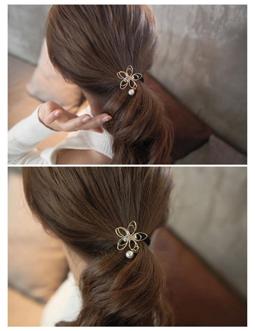 Fashion Gold Color Flower Decorated Hollow Out Simple Hair Band