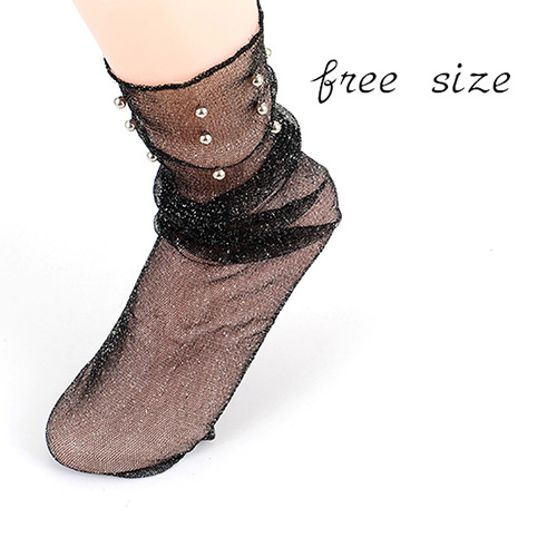 Fashion Fleshcolor Rivet&pearls Decorated Pure Color Simple Socks