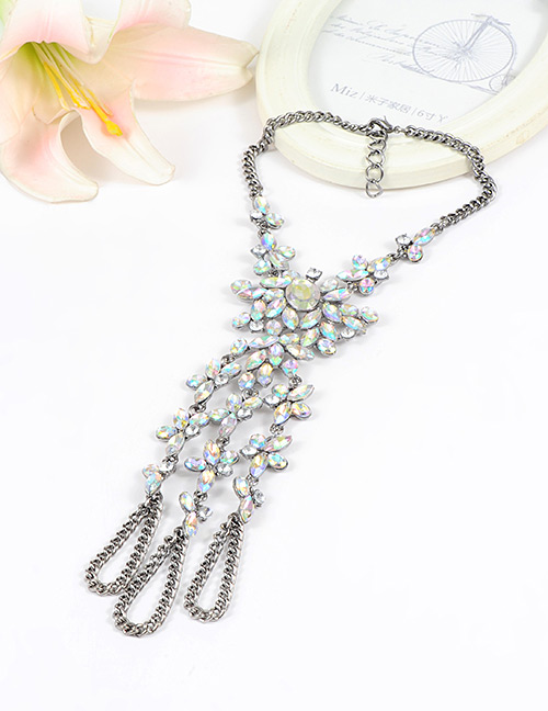 Fashion Multi-color Flower Shape Decorated Simple Long Chain Necklace