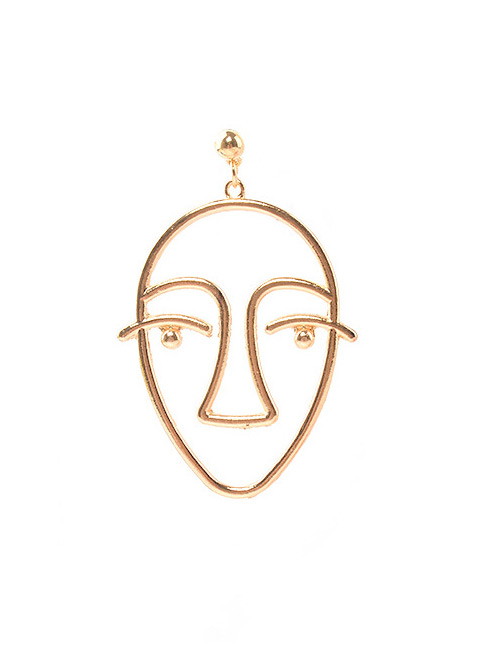 Personality Gold Color Hollow Out Human Face Decorated Earrings