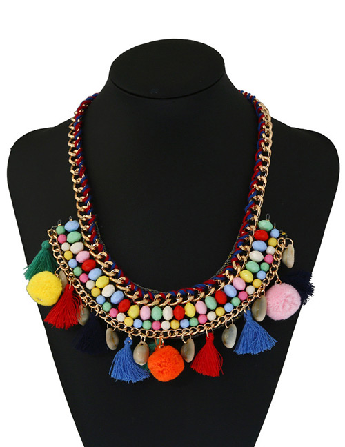 Fashion Multi-color Tassel&fuzzy Ball Decorated Color Matching Pom Necklace