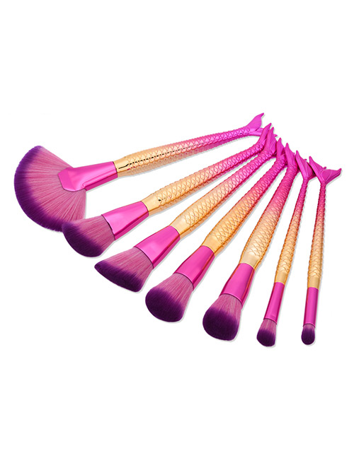 Fashion Pink+gold Color Color Matching Decorated Mermaid Makeup Brush (7pcs)