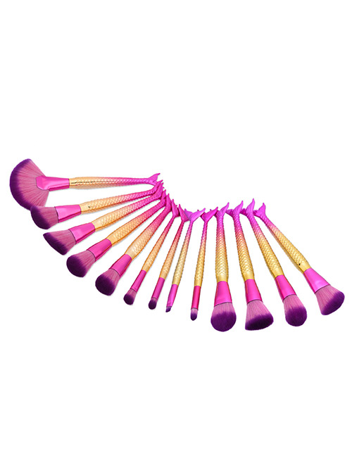 Fashion Pink+gold Color Color Matching Decorated Mermaid Makeup Brush (13pcs)