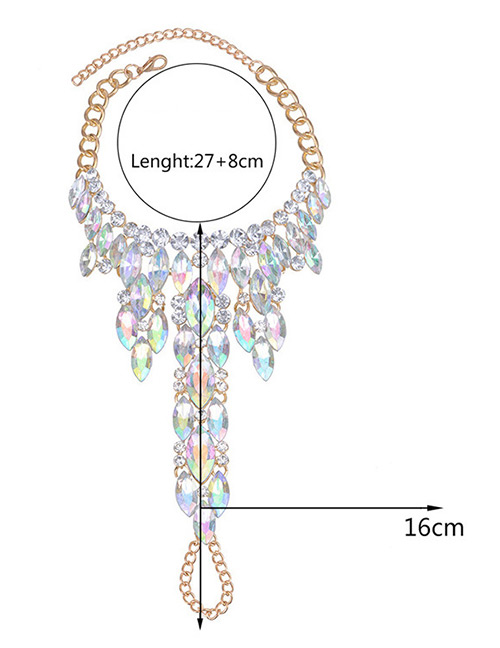 Fashion Multi-color Full Diamond Decorated Simple Anklet