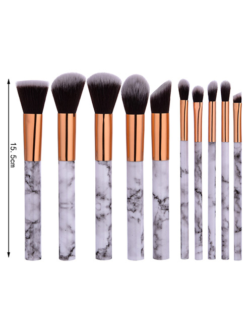 Trendy White+gold Color Color Matching Decorated Simple Beauty Brush(10pcs)