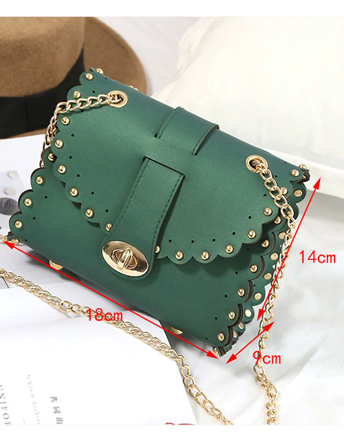 Trendy Red Rivet Decorated Pure Color Mini Shoulder Bag