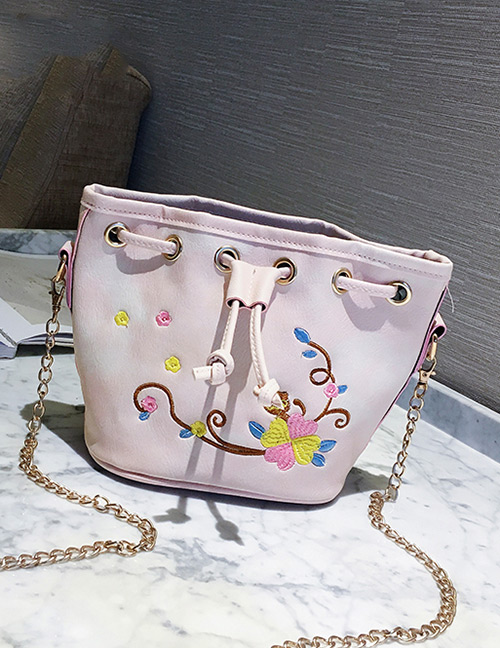 Trendy White Embroidery Flower Decorated Bucket Shape Shoulder Bag