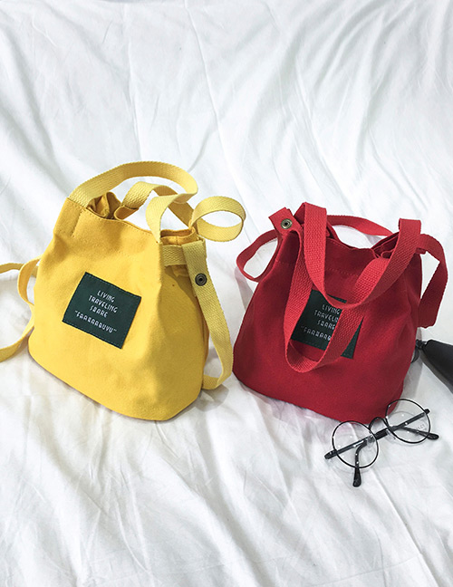 Elegant Yellow Letter Pattern Decorated Pure Color Shoulder Bag