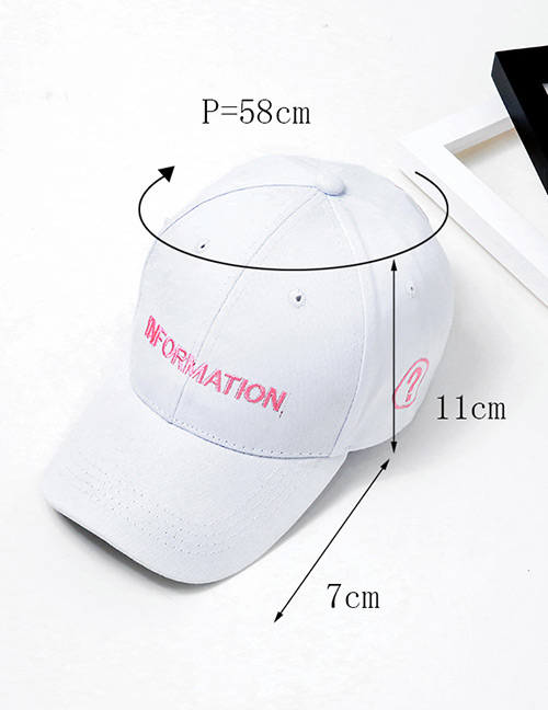 Fashion White Queation Mark Pattern Decorated Pure Color Cap