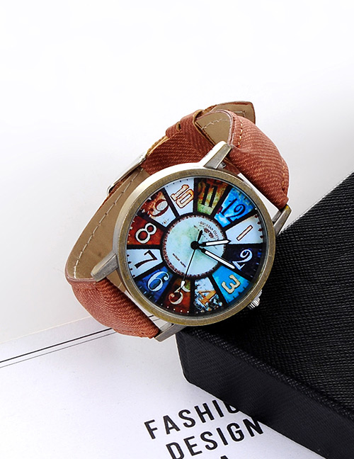 Fashion Dark Blue Color Matching Decorated Round Dail Watch