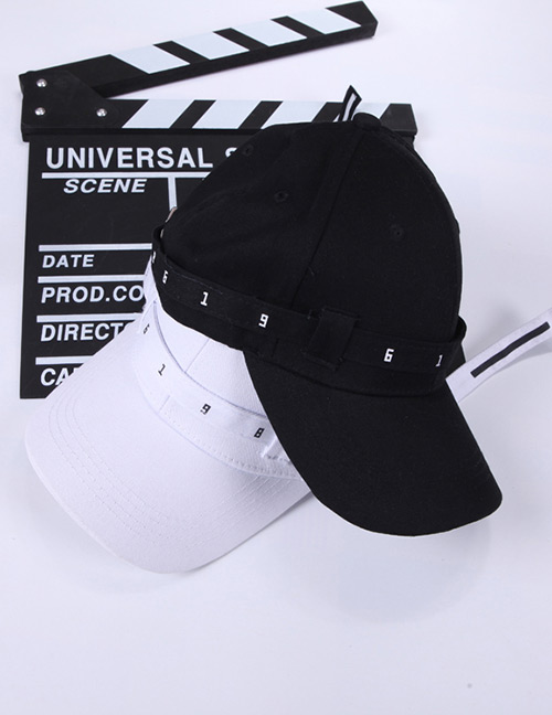 Fashion Black Letter Pattern Decorated Pure Color Baseball Cap
