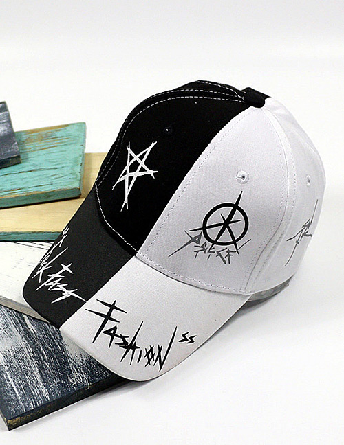 Fashion White+black Star Pattern Decorated Color Matching Baseball Cap