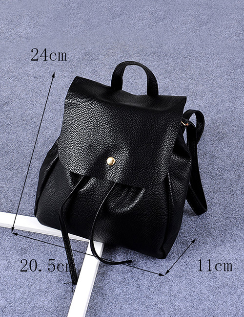 Fashion Black Button Decorated Pure Color Simple Backpack