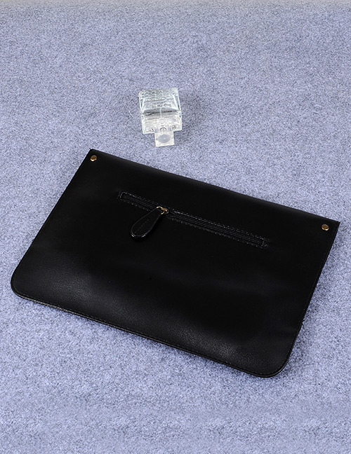 Fashion Black Square Shape Decorated Pure Color Handbags