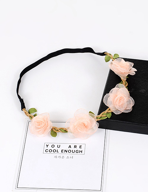 Fashion Light Pink Flower Decorarted Pure Color Simple Hair Ring