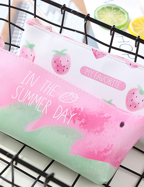 Fashion White Strawberry Pattern Decorated Pure Color Pencil Case