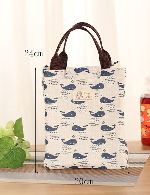 Fashion Dark Blue+white Whale Pattern Decorated Pure Color Lunch Bag