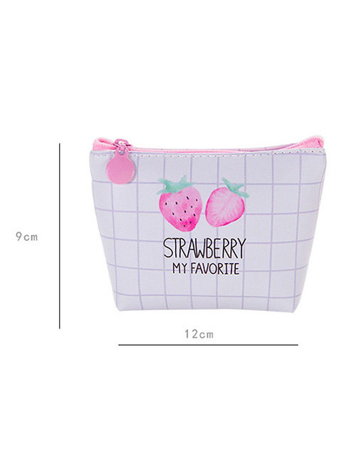 Elegant White Strawberry Pattern Decorated Pure Color Wallet