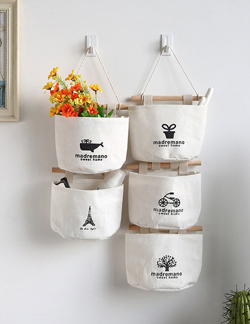 Fashion White Potted Plants&letter Decorated Pure Color Storage Bags