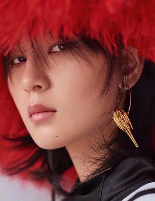 Fashion Gold Color Libra Shape Decorated Earrings:Asujewelry com