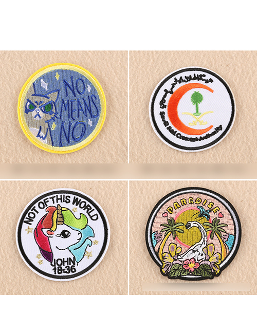 Astonishing Fashion Color Embroidered Round Animal Avatar Badge Patch Download Free Architecture Designs Scobabritishbridgeorg