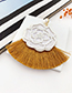 Fashion White Felt Cloth Rice Beads Pearl Flowers Tassels Earrings