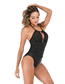 Fashion Black Solid Color One-piece Swimsuit