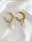 Fashion Silver Alloy Pearl Circle Earrings