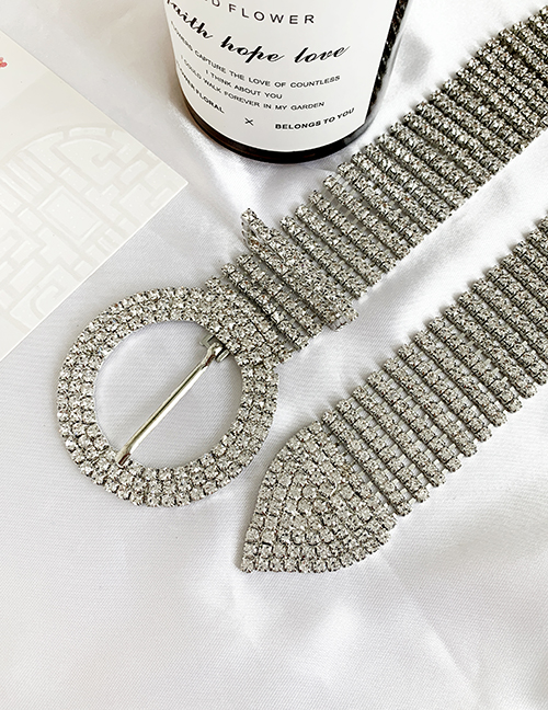 Fashion Silver Alloy Diamond Round Belt