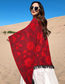 Fashion Wine Red Cashmere Tassel Cloak Slit Shawl
