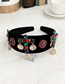 Fashion Black Alloy Diamond Cross Velvet Headband