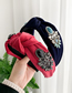 Fashion Navy Knotted Hoop With Alloy Stone And Natural Stone Velvet Cloth