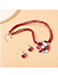 Fashion Red Pearl Painting Oil Geometric Alloy Necklace And Earring Set