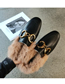 Fashion Black Soft Leather Toe Cap Flat-bottomed Wool And Metal Buckle Half Slippers