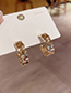 Fashion Real Gold Plated C-shaped Checkered Gold-plated Earrings